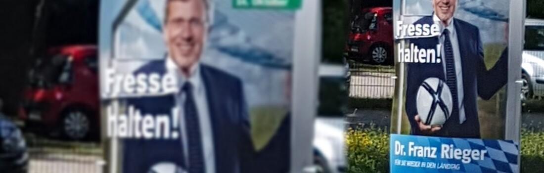 Regensburg Rieger Wahlplakate Verunstaltet Tva